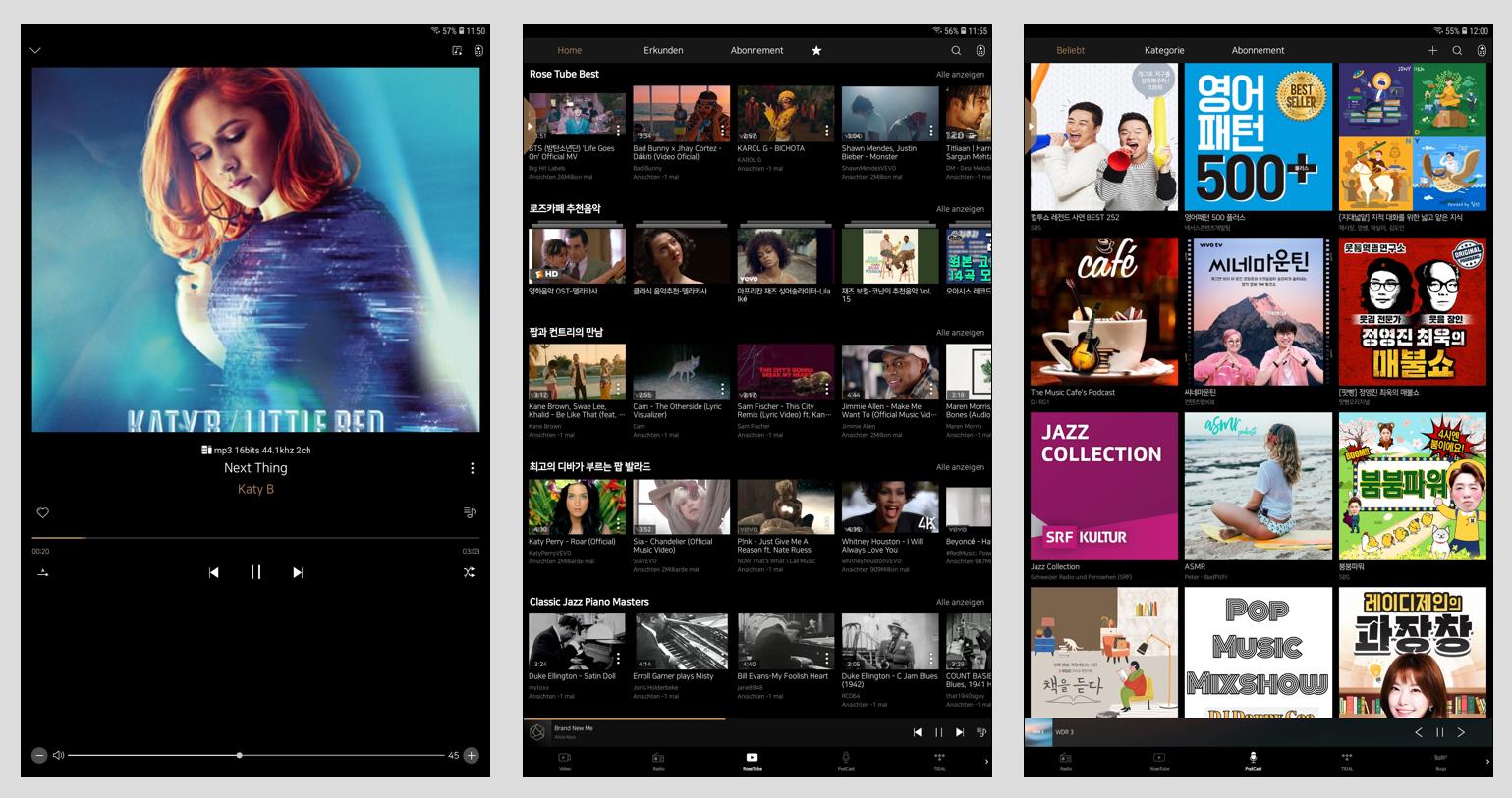 Die Rose Connect Premium-App bietet, wenn auch mit etwas kleinen Icons, die gewohnten Features wie, Trackwiederholung, Playlist-Wiederholung, Favoriten-Kennzeichnun oder Shuffle Play sowie Infos zum Song (Bild 1). Für viel Spaß und spannende Entdeckungen sorgen das Stöbern im RoseTube-Kanal, über den man aber auch das komplette YouTube-Angebot erreicht (Bild 2), und der Podcast-Bereich, der ein üppiges Angebot an englischen und koreanischen Beiträgen bietet.