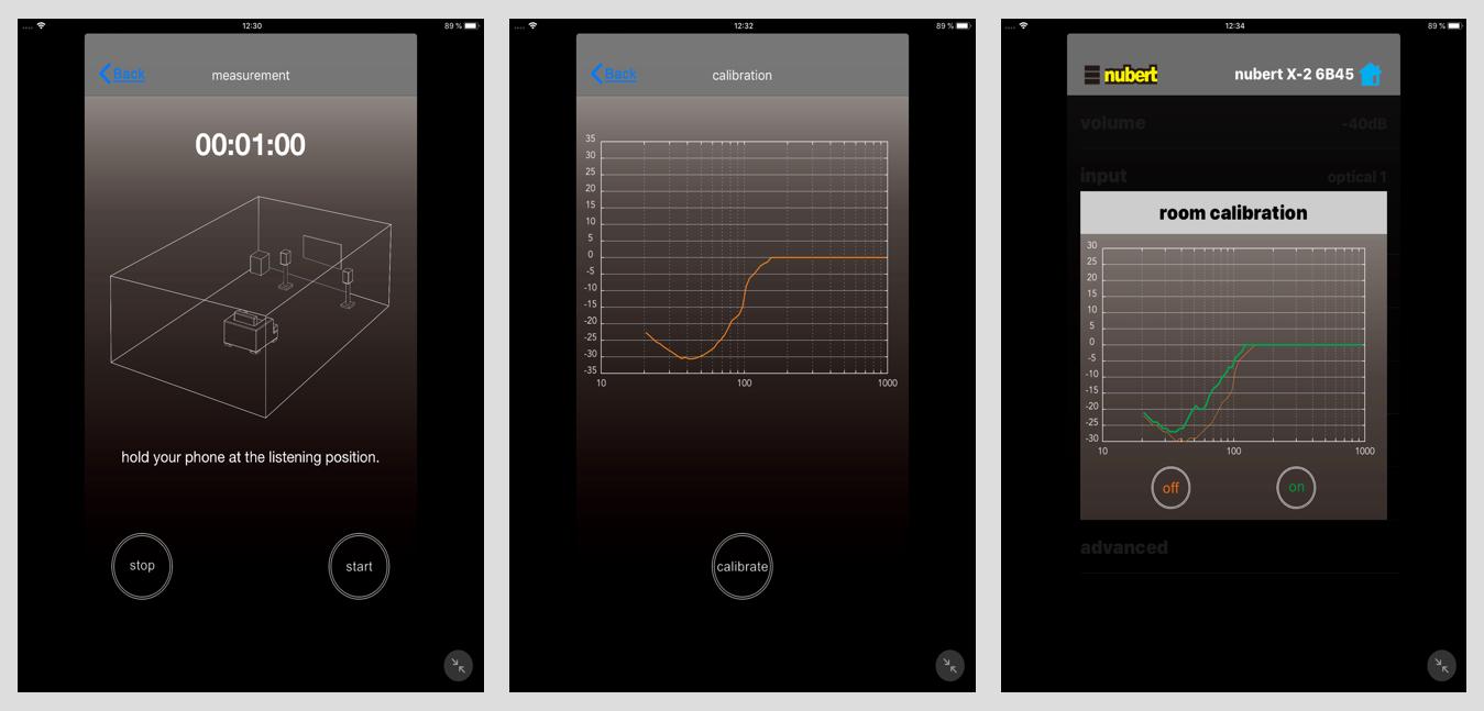 Die automatischen Raumeinmessung: Mit der X-Room Calibration wird der Tiefton optimiert. Die Kalibrierung beginnt mit einem einminütigen Messvorgang, bei dem über die Boxen ein lautes Rauschsignal geschickt wird, das über das Mikrofon des iOS-Smartphones oder -Tablets am Sitzplatz aufgezeichnet wird (Bild 1). Die Software ermittelt hieraus die akustischen Verhältnisse des Raums (Bild 2). Anschließend errechnet die Software die Optimierung, die hier als grüne Kurve angezeigt wird und als grundlegendes Klangprofil aktiviert werden kann. (Bild 3).