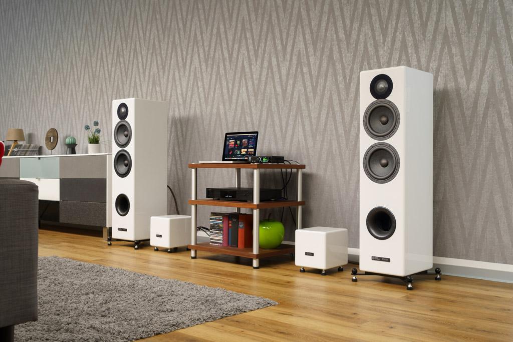 Die Audio Optimum FS82BE ist mit ihrem volumenreichen Korpus und ihrer ausgelagerten Elektronik eine imposante Erscheinung.