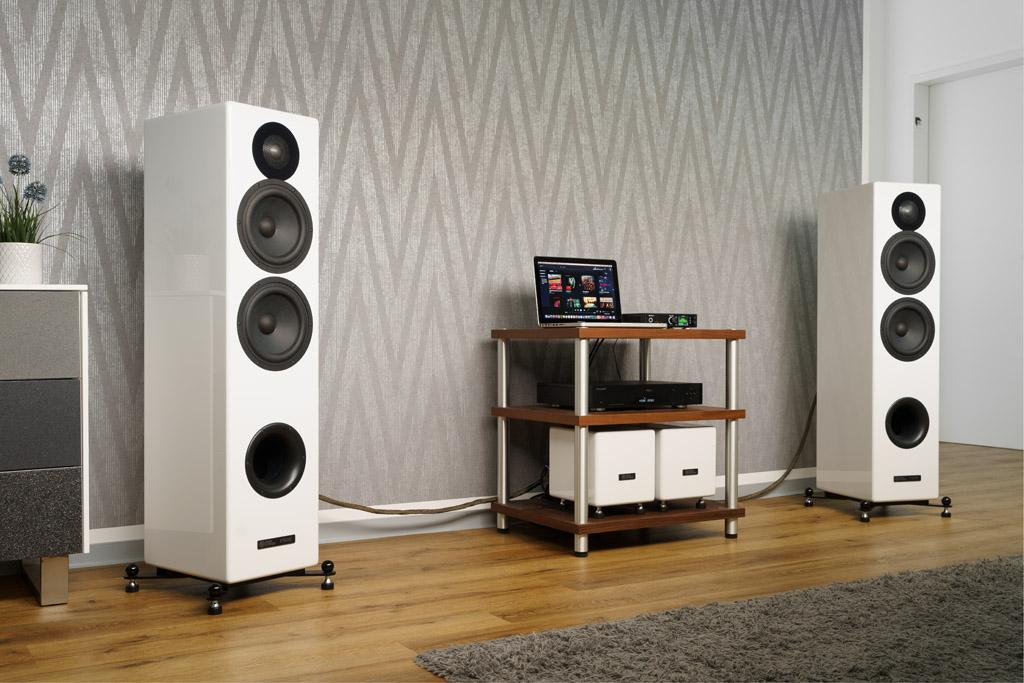 Mit ihrem schnörkellos-gradlinigen Design harmoniert die Audio Optimum FS82BE insbesondere mit einer modernen Wohnumgebung.