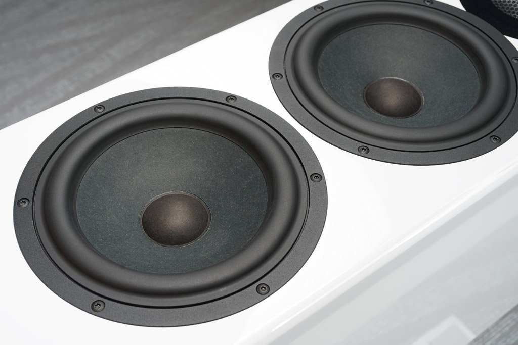 """Die beiden 8-Zoll-Woofer sind ebenfalls im Modellnamen verewigt: Die """"82"""" steht für 8 Zoll, 2 Chassis. Sie übernehmen die Mitten- und Tiefton-Wiedergabe, wobei der untere Woofer ausschließlich für Unterstützung im Bassbereich bis 150 Hertz sorgt."""