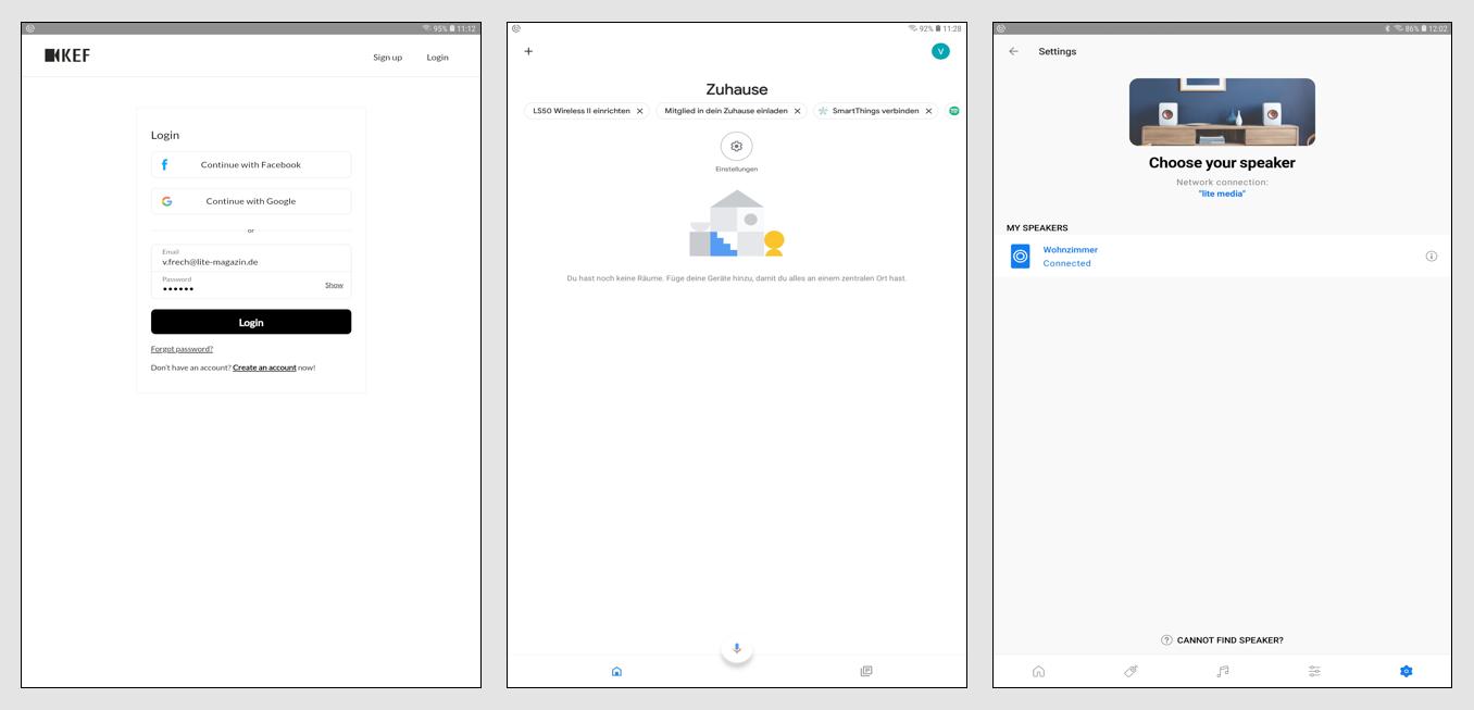 """Die Einrichtung der Lautsprecher gelingt mit der KEF Connect-App. Das beginnt mit dem obligaten Einloggen in den Facebook-, Google- oder Apple-Account oder der Eröffnung eines KEF-Accounts. (Bild 1). Androiden erledigen dann ebenso obligat alle weiteren Schritte mit der Google Home-App (Bild 2). Sind die Lautsprecher eingerichtet, stehen sie in der App unter """"My Speakers"""" zur Verfügung – entweder als alleinige Beschallungsquelle oder als Teil eines Multiroom-Beschallungssystems, das über die App gesteuert wird. Unsere Speaker haben wir in das """"Wohnzimmer"""" gestellt (Bild 3)."""