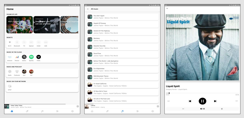 """In der App stehen nun alle Wege und Möglichkeiten offen: die Wahl zwischen Wireless-Schnittstellen und den kabelgebundenen Quellen, die Online-Musikdienste, die hier unter """"Cloud"""" zu finden sind, die kostenfreien Radio- und Podcast-Angebote – und natürlich die Musikfiles, die über das eigenen Netzwerk zugänglich sind (Bild 1). Die Musikfiles können nach verschiedenen Kategorien wie Album, Künstler oder Genre sortiert werden, von einer abgespeicherten Playlist stammen oder unter dem Punkt """"All Music"""" als Komplettangebot angezeigt werden (Bild 2). Für ausgewählte Tracks stehen unter der Abbildung des Covers die wichtigen Infos und Bedienfunktionen zur Verfügung. Die Lautstärke lässt sich dabei wahlweise über einen Schieberegler verändern – oder, wie hier, über Plus- und Minus-Tasten, die den Pegel mit jedem Antippen jeweils um einen Schritt erhöhen oder absenken (Bild 3)."""