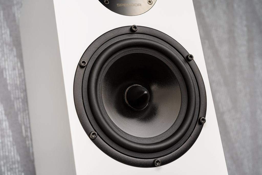 Der Mitteltieftöner verrichtet die größte Arbeit, die dabei entstehende Wärme leitet ein im Zentrum des Schallwandlers positionierter Phase-Plug ab.
