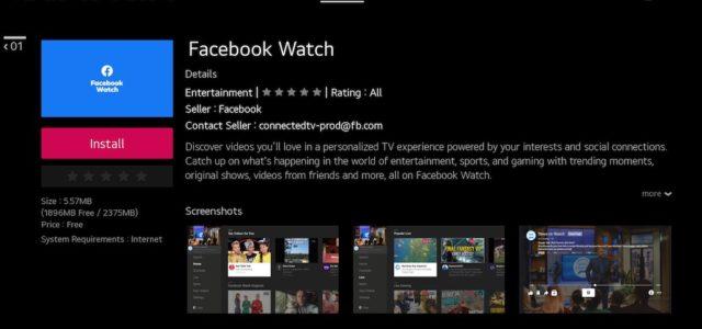Facebook Watch TV-App auf LG Smart TVs verfügbar