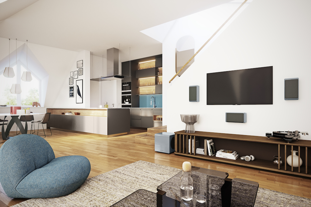 Die On-Wall-Lautsprecher in Kombination mit dem Subwoofer eignen sich insbesondere bei anspruchsvoller Raumgeometrie und Ambiente-Aufteilung.