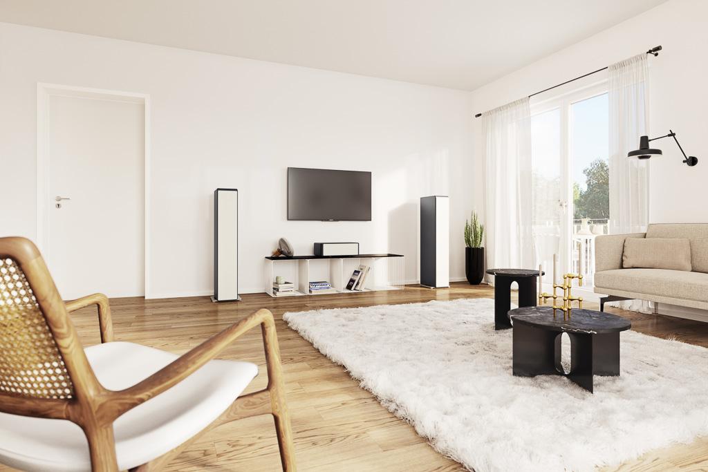 Die Standlautsprecher lassen sich mit anderen Modellen der Ayers-Serie kombinieren und – wie hier mit dem Center – für die TV- und Home Cinema-Beschallung einsetzen.