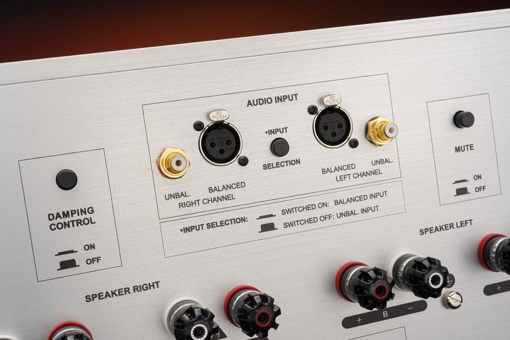 """Der Amp V punktet sowohl mit einem symmetrischen XLR-Eingang als auch mit einem unsymmetrischen Cinch-Input. Die Auswahl der Anschlussart trifft man mit dem """"Input Selection""""-Schalter. Mit dem """"Mute""""-Schalter erreicht man die Stummschaltung, um etwa schnell und unkompliziert Kabel zu wechseln. Mit dem """"Damping Control""""-Schalter aktiviert man auf Wunsch die Dämpfungsfaktor-Linearisierung."""