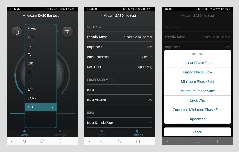 Der SA30 lässt sich über verschiedenste Apps steuern. Arcam hat zwei Bedienoberflächen in petto. Hier ist die Arcam Control-App zusehen. Mit ihr lassen sich die Grundfunktionen bedienen, also An/Aus, Lautstärke, Stummschaltung, Balance und Quellenauswahl (Bild 1). Ebenso lassen sich einige Einstellungen des Menüs aufrufen (Bild 2). Überdies sind hier die verschiedenen DAC-Filter aufruf- und einstellbar (Bild 3).