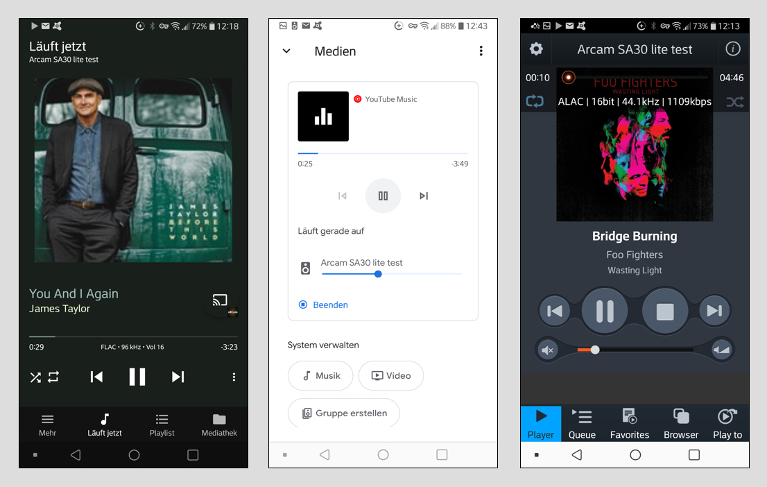 Der SA30 harmoniert aber auch mit andern UPnP/DLNA-fähigen Player-Apps wie Bubble UPnP (Bild 1) oder mconnect (Bild 3). Über die Google Home-App lässt sich Musik der verschiedensten Dienste streamen – sogar YouTube Music (Bild 2).