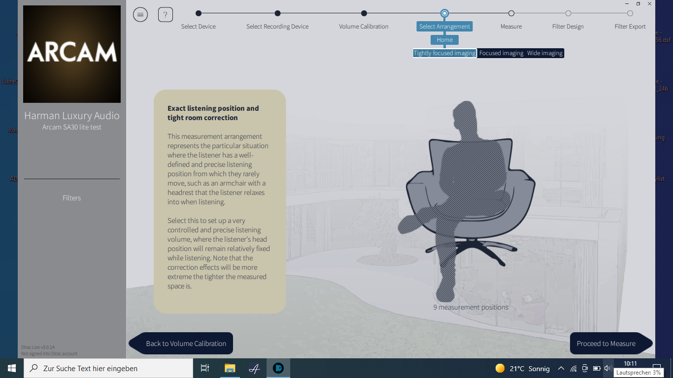 Die Einmess-Software ermöglicht die Optimierung für mehrere Szenarien: entweder eng den Hörplatz fokussiert ...