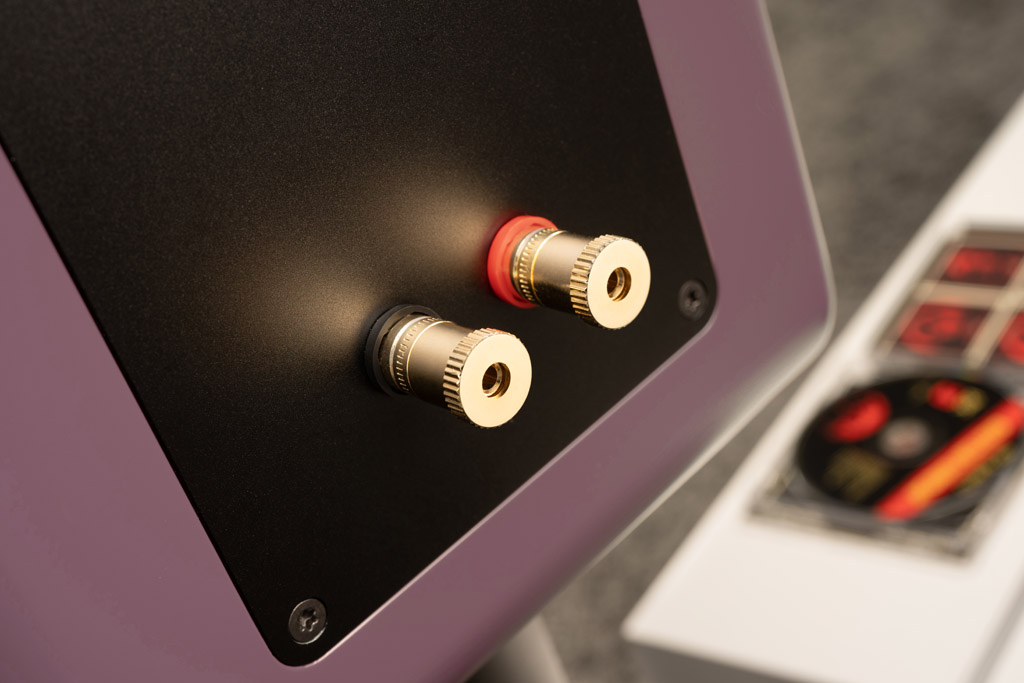 Die Ayers Two ist mit einem erstklassigen Terminal ausgestattet. Die Single-Wire-Ausführung, die von den meisten Hörern bevorzugt wird, minimiert mögliche Klangverfälschungen durch den Anschluss. Die vergoldeten Klemmen erlaubt Kabel mit einem Querschnitt bis acht Millimeter. Eine freidrehende Andruckscheibe verhindert, dass beim Anziehen die feinen Drähtchen der Litze in Mitleidenschaft gezogen werden. Neben blanker Litze akzeptieren die Klemmen natürlich auch Kabel, die mit Kabelschuhen oder Bananenstecker konfektioniert sind.