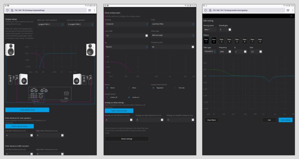"""Das Setup und die Einstellmöglichkeiten im Browser-Setup sind überaus üppig. Hier können die angeschlossenen Lautsprecher sowie Subwoofer angegeben und optimiert werden. Sind es Lyngdorf-Modelle, erscheinen sie sogar mit einer Abbildung (Bild 1). Das Portfolio an Möglichkeiten reicht bis zur Setzung von Limiter und Filtern, der Angabe der Lautsprecher-Entfernungen zum Ausgleich von Laufzeitunterschieden oder der Einstellung einer Signal-Verzögerung am Audio Out (Bild 2). Wer die """"Voicings"""" nutzt, also die verschiedenen Klangprofile, kann diese entweder nach Belieben editieren oder gleich selbst welche kreieren (Bild 3)."""