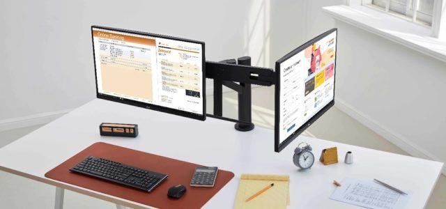 Höchster Komfort mit ein oder zwei Bildschirmen: LG Ergo-Monitore der zweiten Generation