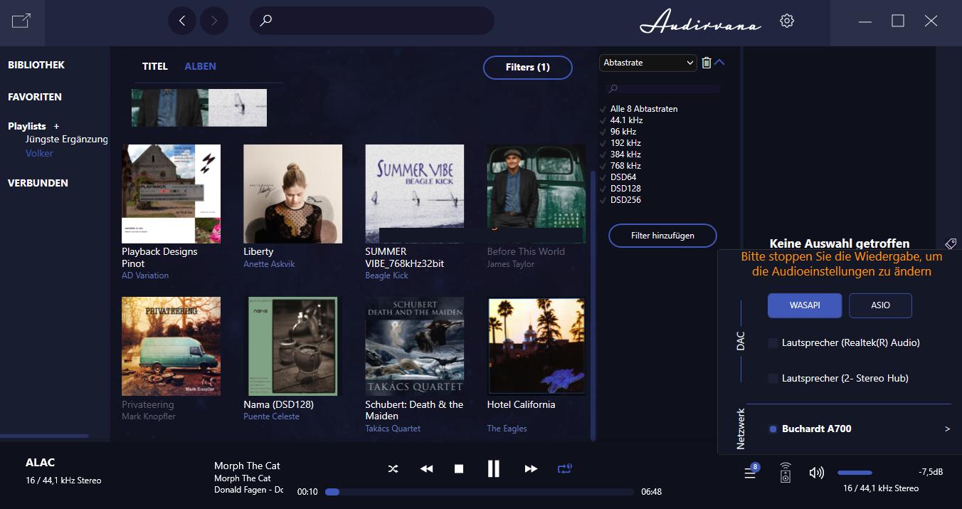 Auch per Laptop kann bequem Musik aus dem eigenen Netzwerk gestreamt werden – hier mit der audiophilen Audio-Software Audirvana.