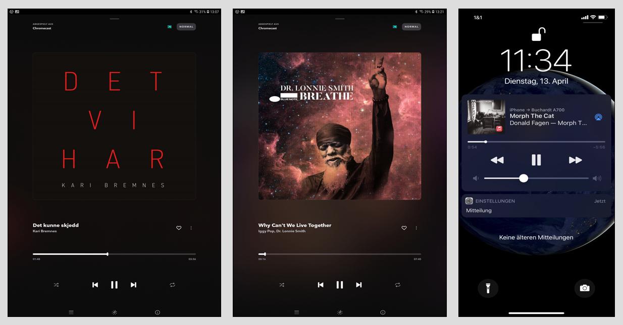 Über Chromecast und den favorisierten bezahlpflichtigen Musikdienst – hier Tidal – streamt man Musik bis hin zur HiRes-Qualität und hat dabei die ganze Bandbreite des Musikdienst-Portfolios zur Verfügung (Bild 1 und Bild 2). Über Bluetooth und – wie hier abgebildet AirPlay - streamt man alternativ und schnell Musik vom eigenen Tablet oder iPhone (Bild 3).